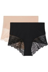 Spanx Undie Tectable Set Of Two Stretch Jersey And Lace Briefs Black