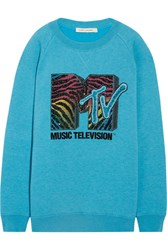 Marc Jacobs Oversized Sequin Embellished Jersey Sweatshirt Turquoise