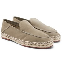 Loro Piana Seaside Walk Suede Espadrilles Gray