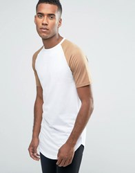 Jack And Jones Longline T Shirt With Contrast Raglan Sleeve Curved Hem White Bleach Sand