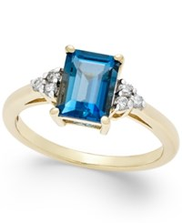 Macy's London Blue Topaz 2 Ct. T.W. And Diamond 1 8 Ct. T.W. Ring In 14K Gold Yellow Gold