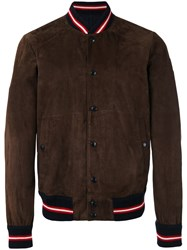 Moncler Striped Trim Bomber Jacket Brown