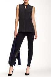 David Lerner Faux Leather Trim Riding Legging Black