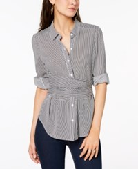Bar Iii Faux Wrap Blouse Created For Macy's Black