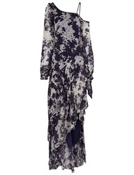Jonathan Simkhai White And Navy One Shoulder Tie Dye Gown