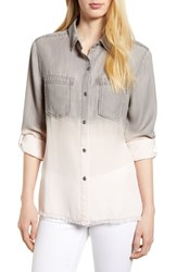 Billy T Laced Back Button Up Shirt Grey Rr Stripe