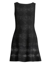 Alaia Sleeveless Shimmered Floral Knit Tunic Dress Black