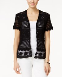 Styleandco. Style And Co. Crochet Shrug Cardigan Only At Macy's Deep Black