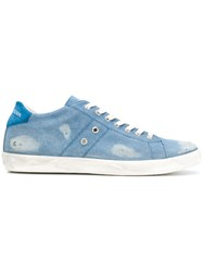 Leather Crown Distressed Sneakers Blue