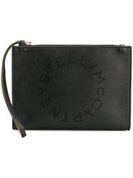Stella Mccartney Perforated Logo Clutch Artificial Leather Black
