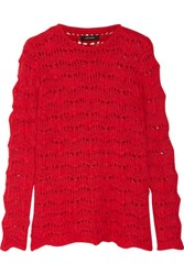 Isabel Marant Guetty Open Knit Sweater Red