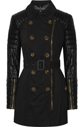 W118 By Walter Baker Keanu Quilted Faux Leather And Cotton Trench Coat Black