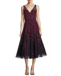 Oscar De La Renta Embroidered Vine Sleeveless Cocktail Dress Blue Red Blue Red