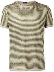 Zanone Knitted Striped T Shirt Green