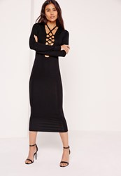 Missguided Lace Up Front Midi Dress Black Black