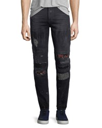 Marcelo Burlon Ain Distressed Biker Jeans Blue
