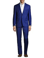 Yves Saint Laurent Classic Fit Solid Wool Suit Bright Blue