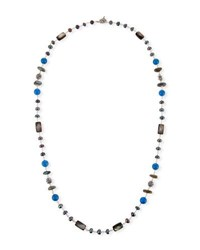 Stephen Dweck Pearl And Blue Agate Beaded Station Necklace 32