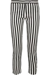 Ann Demeulemeester Cropped Striped Satin Twill Slim Leg Pants White