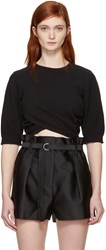 3.1 Phillip Lim Black Twisted Cropped T Shirt