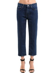 Aalto Pleated Cropped Cotton Denim Jeans Blue