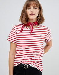 Maison Scotch Stripey T Shirt With Felix The Cat Embroidery 17 Combo A Red