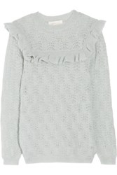 Zimmermann Mischief Ruffle Trimmed Pointelle Knit Sweater Mint