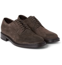 Brioni Suede Derby Shoes Tan