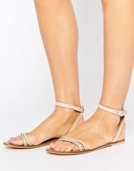 Asos Flery Leather Flat Sandals Pale Pink