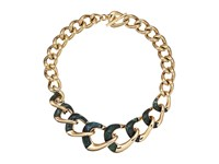 Michael Kors Autumn Luxe Acetate And Stainless Steel Curb Link Statement Necklace Gold Green Necklace