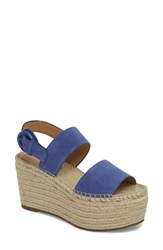 Marc Fisher 'S Ltd Renni Espadrille Platform Wedge Sandal Blue Suede