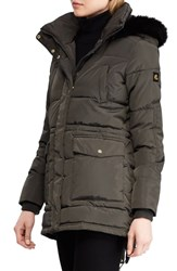 Lauren Ralph Lauren Puffer Coat With Faux Fur Trim Dark Moss