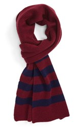 Polo Ralph Lauren Men's Stripe Wool And Cashmere Scarf Classic Wine French Navy