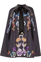 Temperley London Sail Satin Trimmed Embroidered Wool Cape Dark Gray