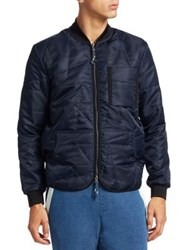 Madison Supply Zip Up Bomber Jacket Blue Night