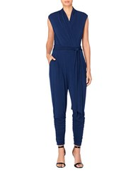 Catherine Malandrino Solid Ruched Jumpsuit Georgian Navy