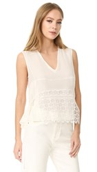 Jenni Kayne Sleeveless Lace Overlay Top Ivory
