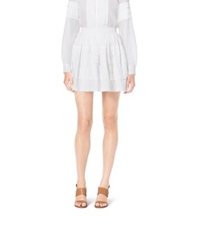 Michael Kors Tiered Cotton Organdy Mini Skirt Optic White