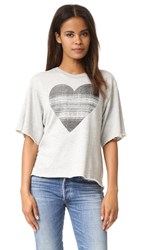 Sundry Static Heart Raw Edge Tee Heather Grey