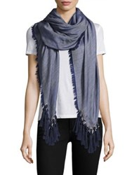 Chloe Pompon Fringe Wool Silk And Cashmere Scarf Denim Blue