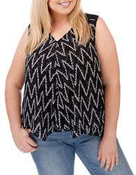 Lucky Brand Plus Chevron Zigzag Top Black Multi