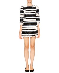 Dolce And Gabbana Sequin Stripe Shift Dress Blue White Black
