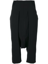Rick Owens Cropped Drop Crotch Trousers Women Spandex Elastane Virgin Wool 42 Black