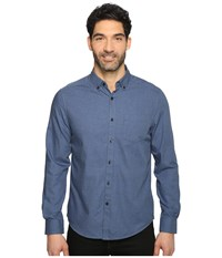 Kenneth Cole Long Sleeve Button Down Collar Solid Flannel Indigo Combo Men's Long Sleeve Button Up Navy