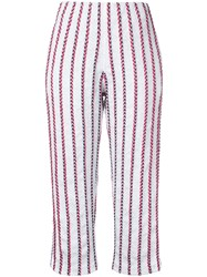 Coohem Striped Tweed Cropped Trousers Women Cotton Nylon Polyester 38 White