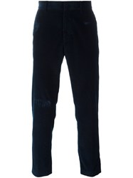 Msgm Corduroy Straight Leg Trousers Blue