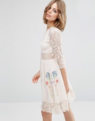 Asos Premium Skater Dress With Lace Sleeves And Neon Embroidery Nude Cream