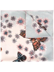 Valentino Butterfly And Floral Print Scarf Pink Purple