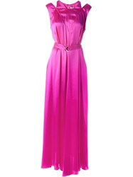 Kenzo Belted Evening Dress Pink And Purple