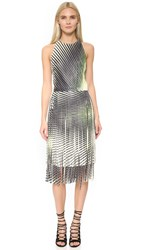 Tamara Mellon Printed Leather Fringe Dress Multi Green